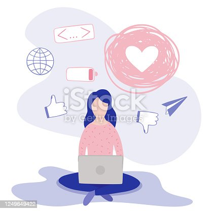 Blogger woman, freelancer. Blogging miniature illustration make review and new content. Bloggers website channel.