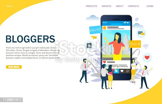 Bloggers vector website template, web page and landing page design for website and mobile site development. Blogging, instablogging, instabloggers concept.