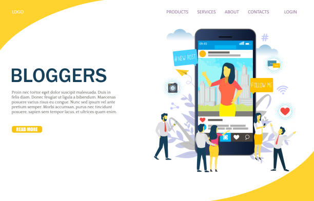 Bloggers vector website landing page design template Bloggers vector website template, web page and landing page design for website and mobile site development. Blogging, instablogging, instabloggers concept. auto post production filter stock illustrations