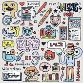 Blogging Activities Funny Doodle Cartoon Set.