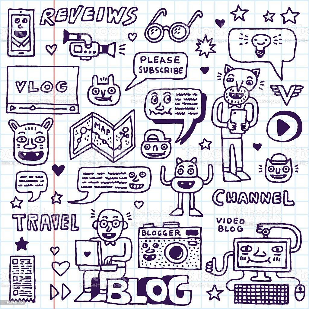Blogging Activities Funny Doodle Cartoon Set. Video Blog. vector art illustration