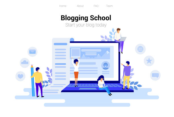 Blogging and copywriting concept. Content management for web page, banner, presentation, social media, posters. Education, news, seminars, tutorials vector illustration vector art illustration