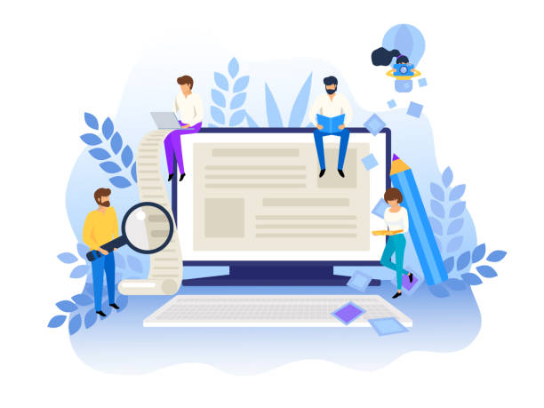Blogging and creative writing concept. Content management for web page, banner, presentation, social media, posters. Education, news, copywriting, seminars, tutorials vector illustration vector art illustration