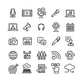Blogging Black Thin Line Icon Set Technology Element for Web Design Include of , Chat, Cloud, Earphone and Target. Vector illustration