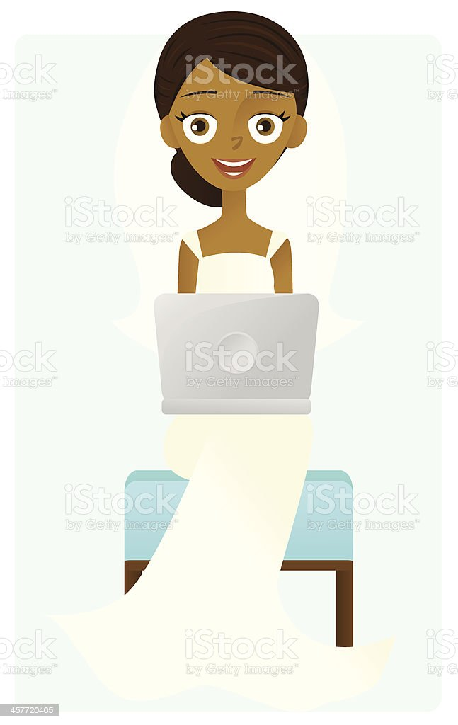 Blogging Bride vector art illustration