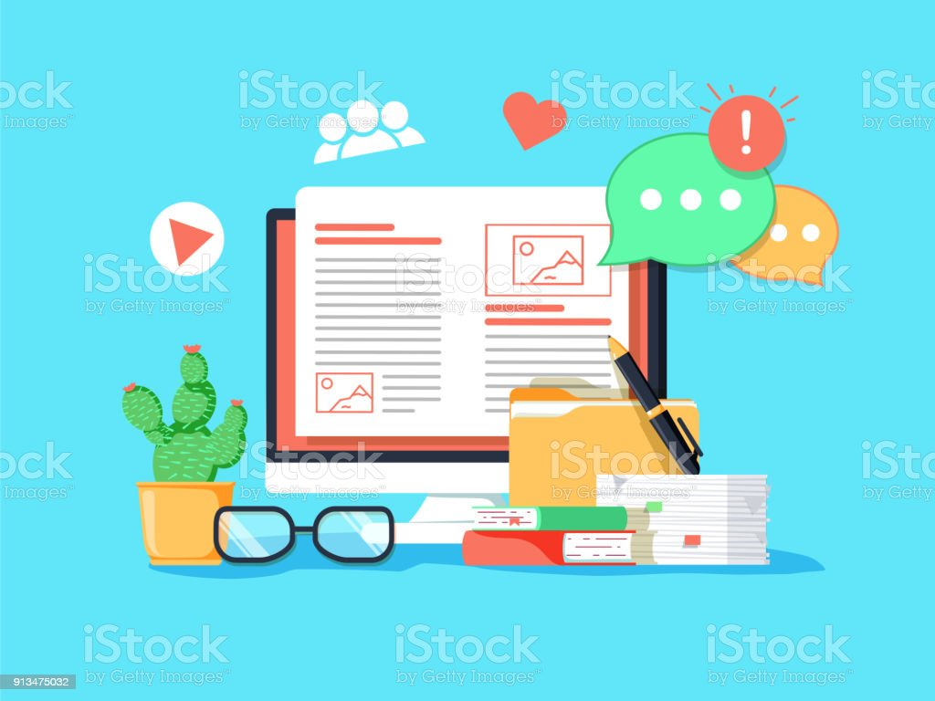 Blogging concept illustration. Idea of writing blog and making content for social media. vector art illustration