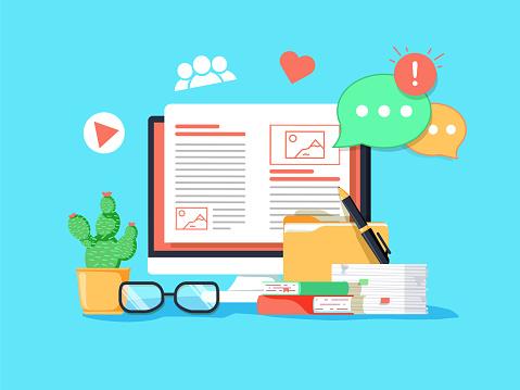 Vetores de Ilustração Do Conceito De Blogging Ideia De Escrever O Blog E  Fazer Conteúdo Para Mídias Sociais e mais imagens de Artigo da imprensa -  iStock
