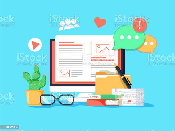 Blogging Concept Illustration Idea Of Writing Blog And Making Content For Social Media Stock Illustration - Download Image Now