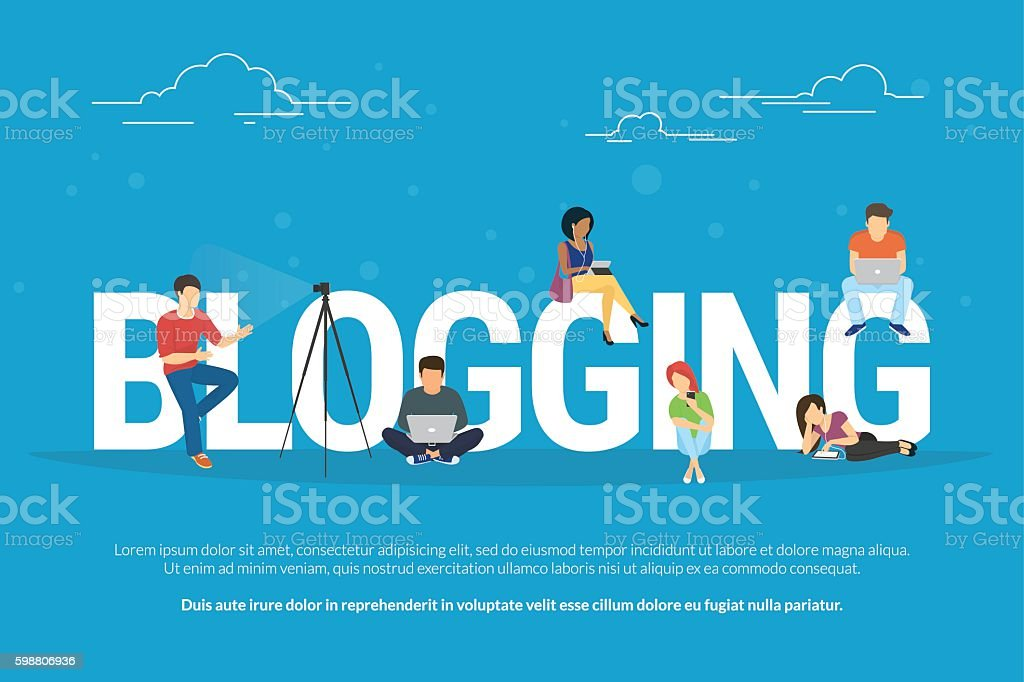 Blogging concept illustration of young people using laptop vector art illustration