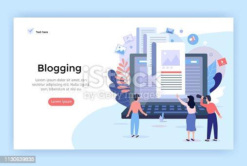 Blogging concept illustration, perfect for web design, banner, mobile app, landing page, vector flat design