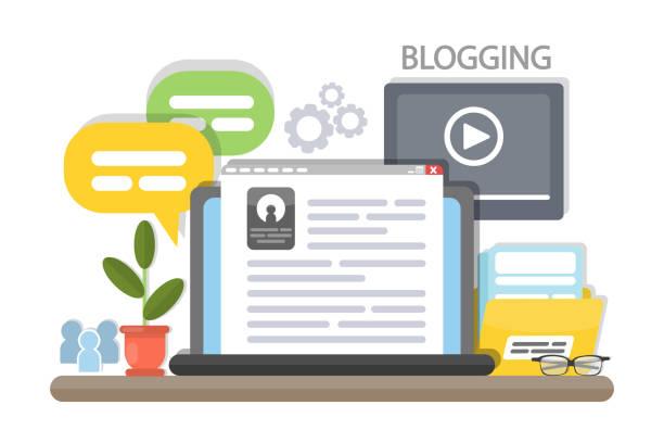 stockillustraties, clipart, cartoons en iconen met blogging concept illustratie. - bloggen