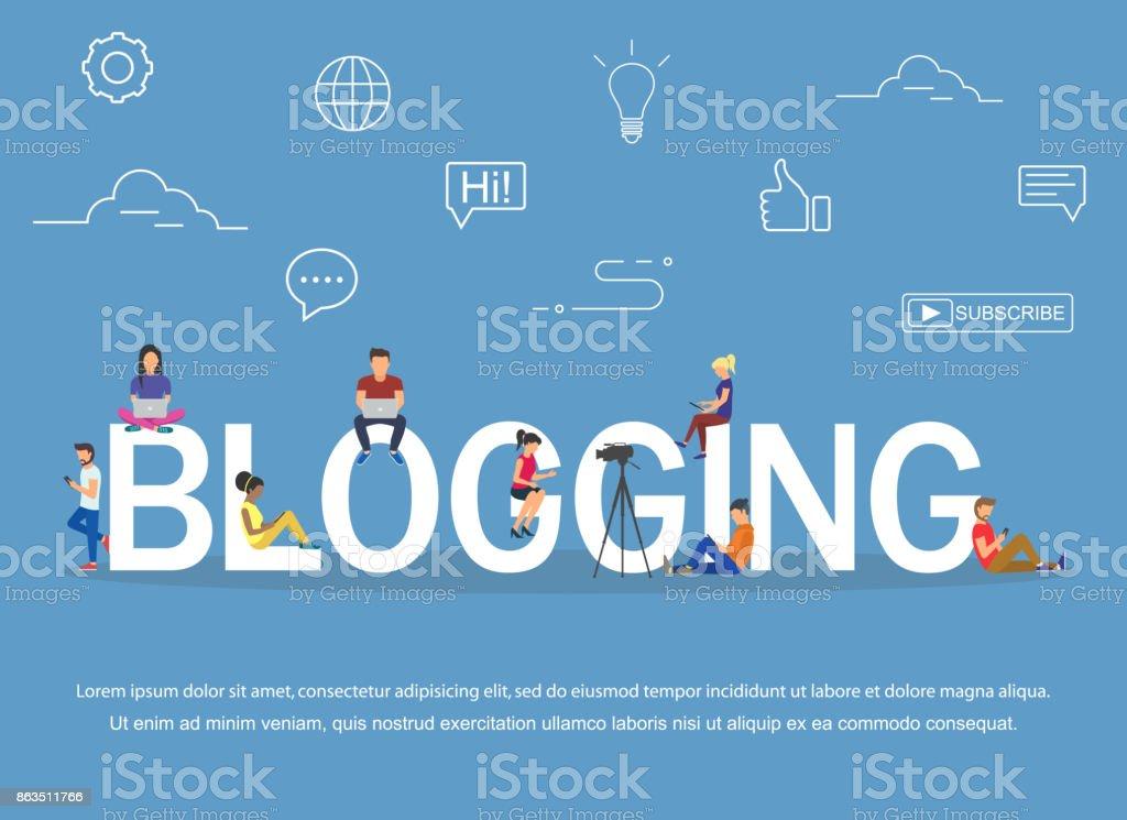 ブログやウェブサイトを読むためのノート パソコンやタブレットを使用して若者のブログ コンセプト ベクターアートイラスト