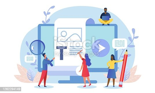istock Blogging concept with business team 1262294149