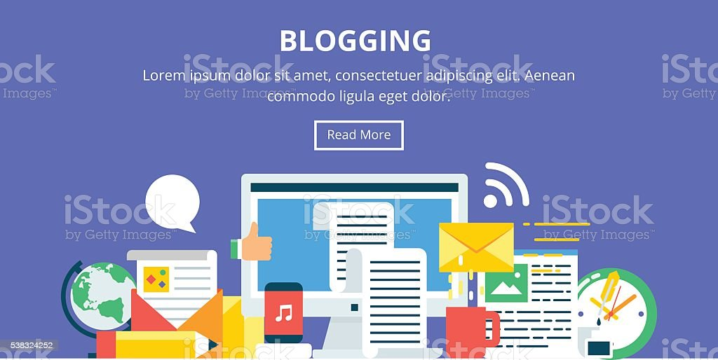 Blogging, content marketing flat style banner vector art illustration