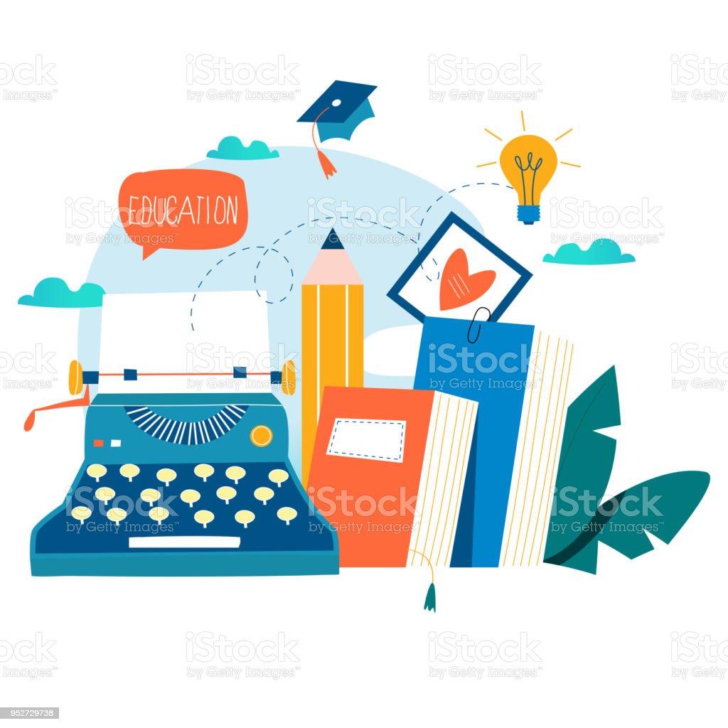Blogging, education, creative writing vector art illustration