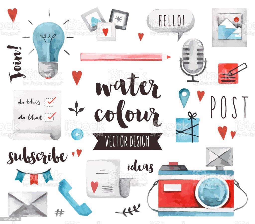 Blogging Elements Watercolor Vector Objects vector art illustration