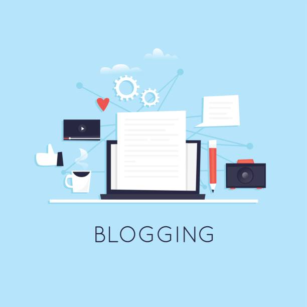 Blogging. Flache Vektor-Illustration im Cartoon-Stil. – Vektorgrafik