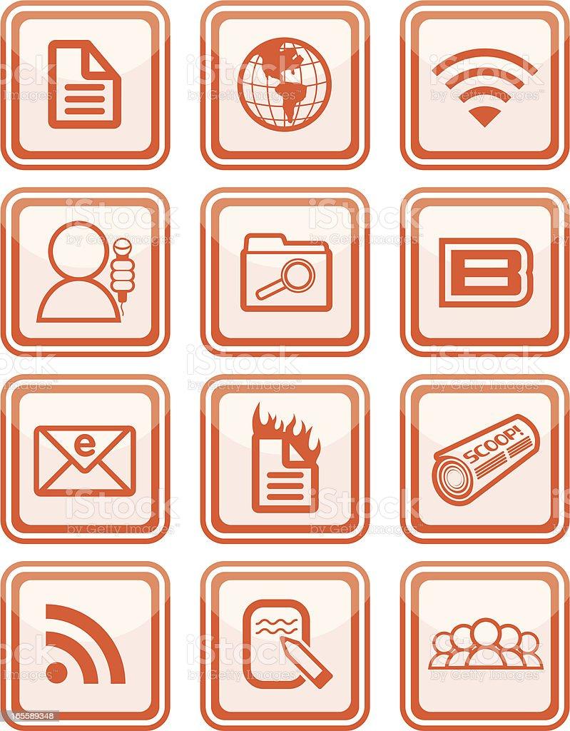 Blogging Icon Set royalty-free stock vector art