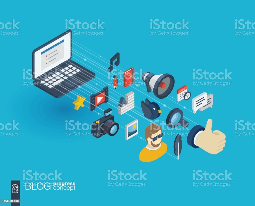 Blogging Integrated 3d Web Icons Growth And Progress Concept stock ...