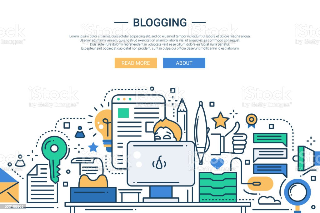 Blogging - line design website banner vector art illustration