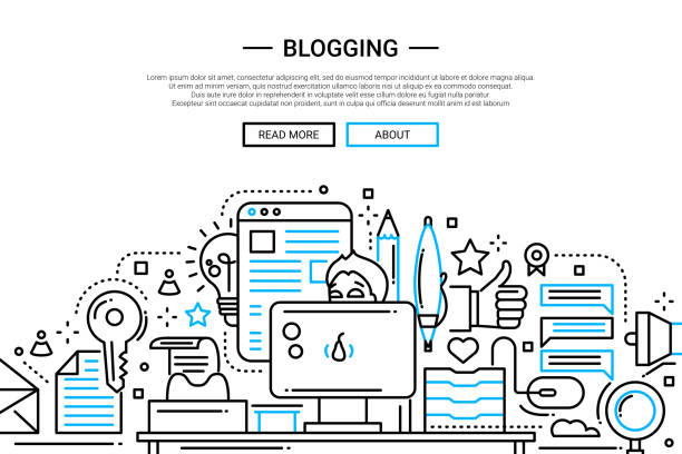 Blogging design site Web des bannières ligne - Illustration vectorielle