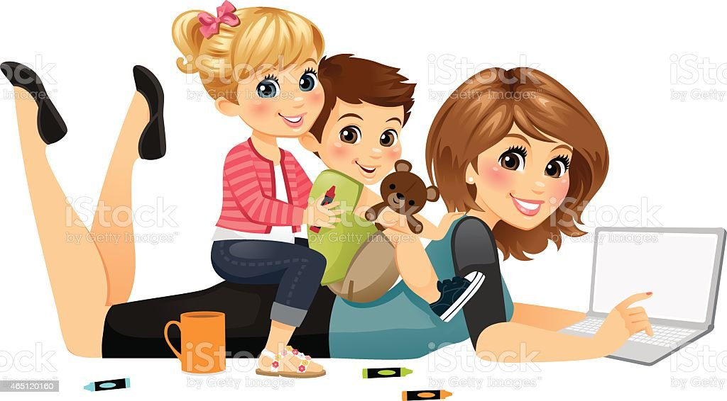 Blogging Mom with Kids royalty-free blogging mom with kids stock vector art & more images of 2015