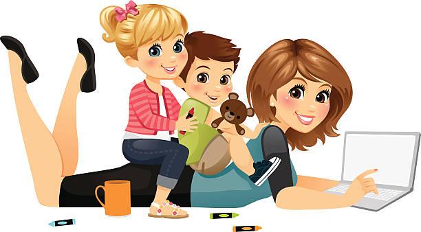 blogging mom with kids - heyheydesigns stock illustrations