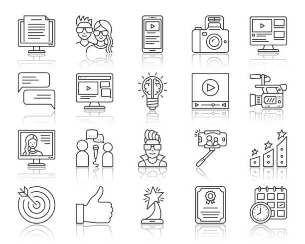 stockillustraties, clipart, cartoons en iconen met bloggen online eenvoudige zwarte lijn iconen vector set - bloggen