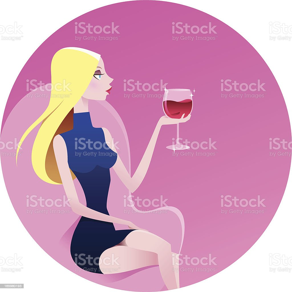 Blond beautiful woman with red wine royalty-free stock vector art