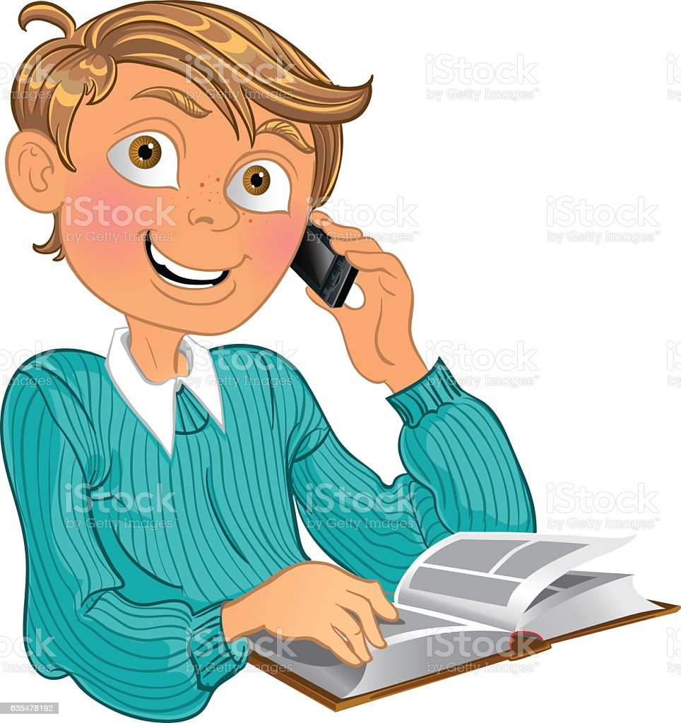 Blond Boy In Blue Sweater And Phone And Book stock vector art ...