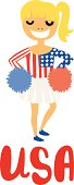 Blond Cheerleader Girl with USA