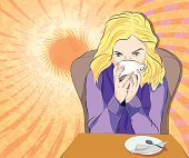 Vector illustration of blond girl drinking coffee on bright sunny abstract background
