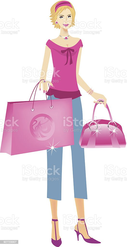 Blond girl holding shopping bag and purse royalty-free stock vector art