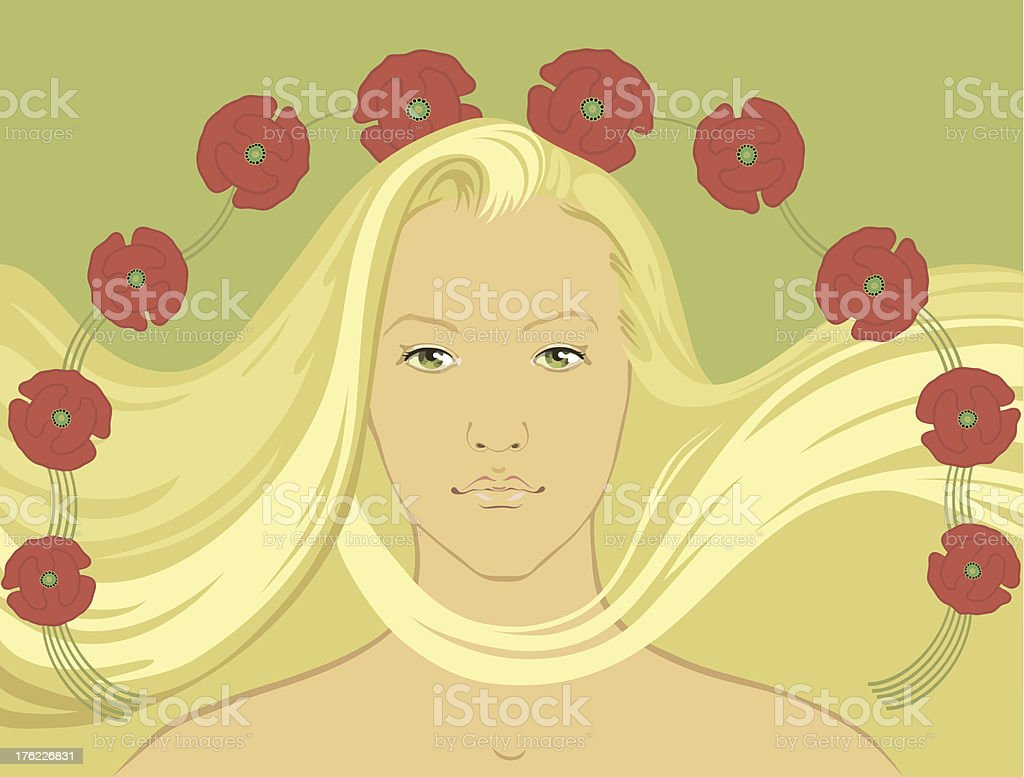 Blond girl with flying hair surrounded by poppy-flowers royalty-free stock vector art