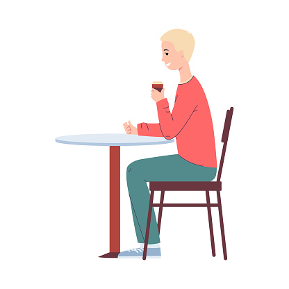 Blond man character drinking coffee at table flat vector illustration isolated.