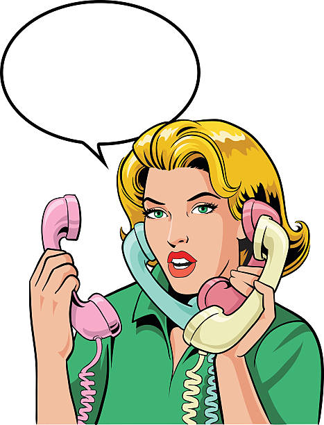 Blond Retro Style Woman Talking on Four Phones All images are placed on separate layers. They can be removed or altered if you need to. No gradients were used. No transparencies.  switchboard operator vintage stock illustrations