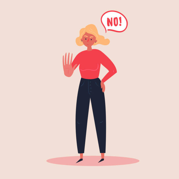 Blond woman expressing denial NO with her hand Blond woman expressing denial NO wtih her hand and in the speech bubble. Stop domestoc violence and crime against females. No means no concept, stop here. Vector flat illustration, banners and posters rejection stock illustrations