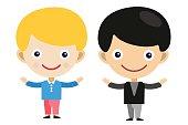 Blonde boy cartoon vector boys in different costumes