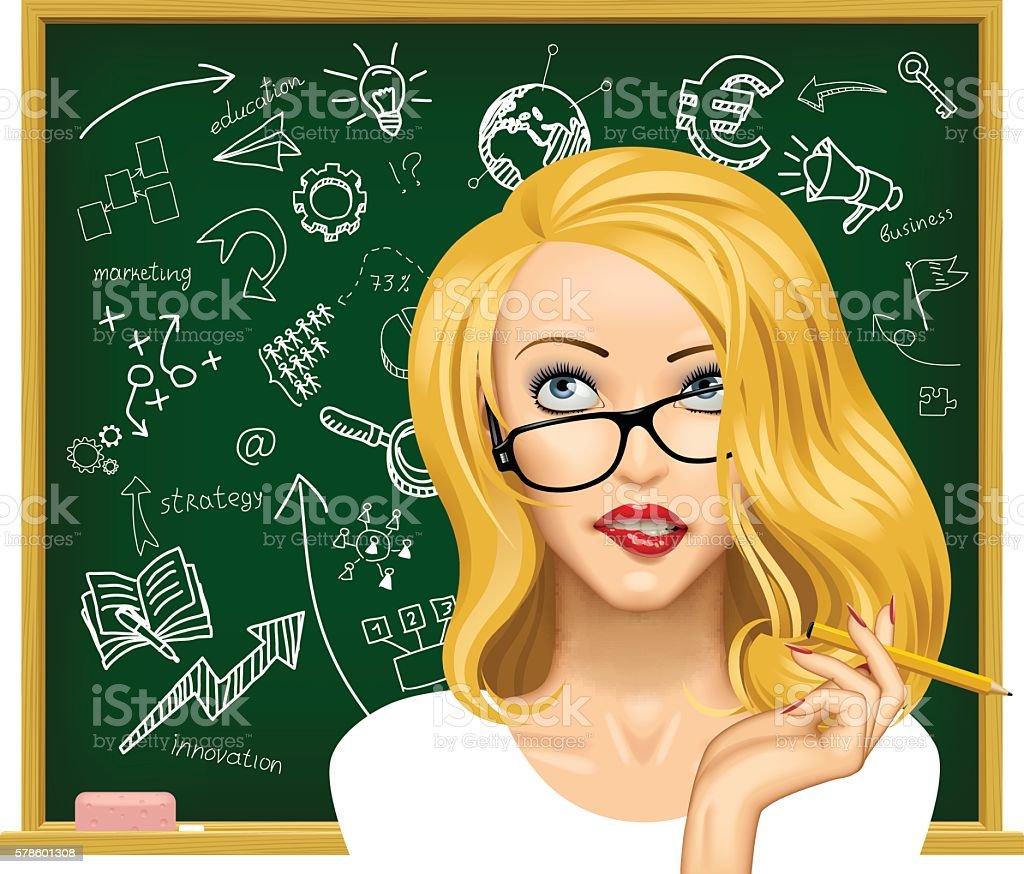 Blonde business woman in glasses near the blackboard vector art illustration