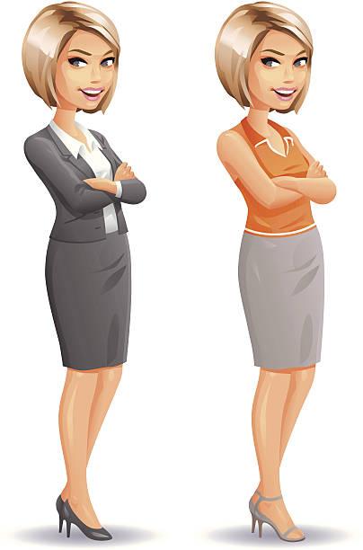 Blonde Businesswoman vector art illustration