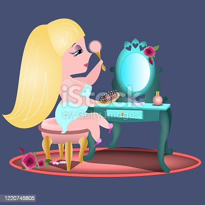 blonde girl makeup dressing table combing her hair in the mirror pink blue dress