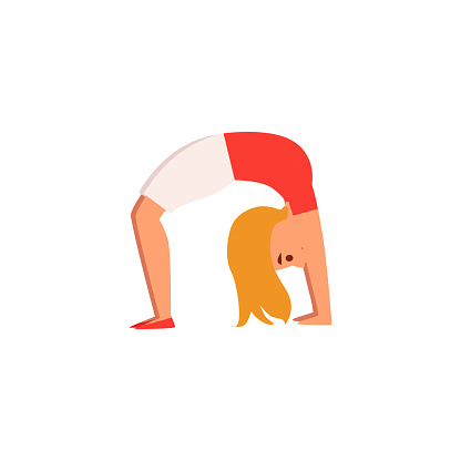 blonde girl in yoga wheel pose isolated cartoon drawing of