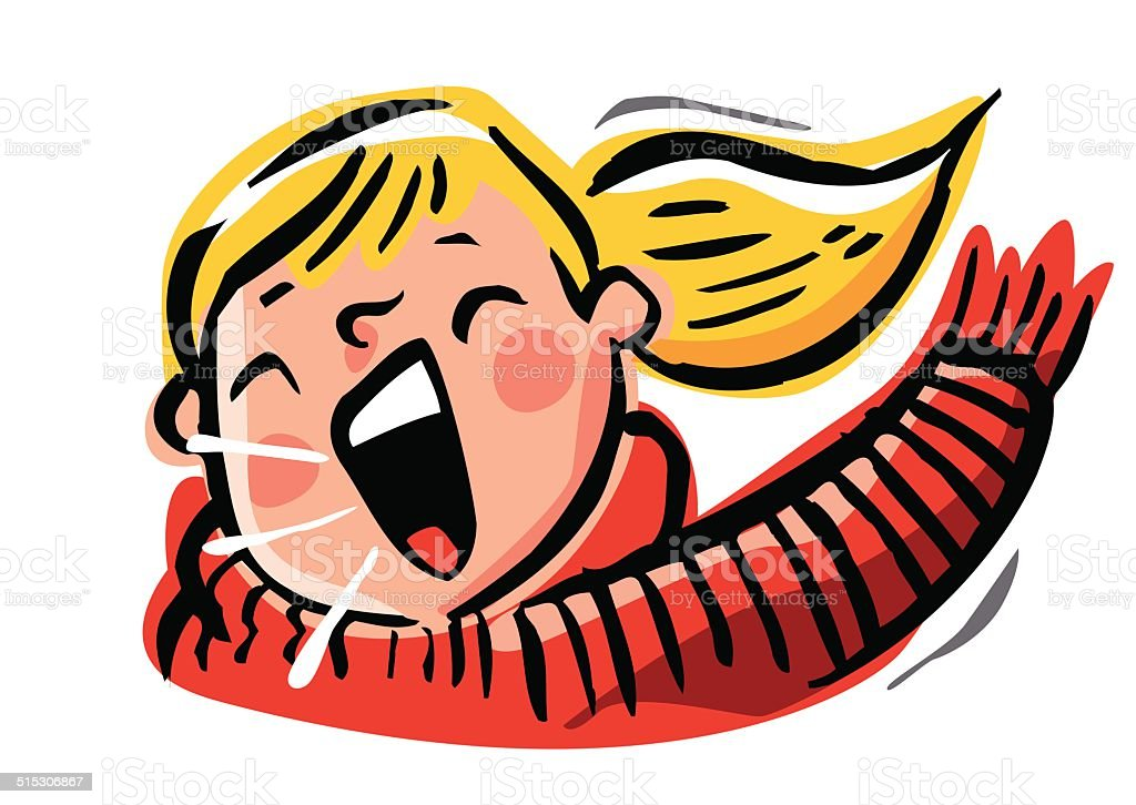 Chica rubia con una coleta y bufanda gritar, o de música - ilustración de arte vectorial