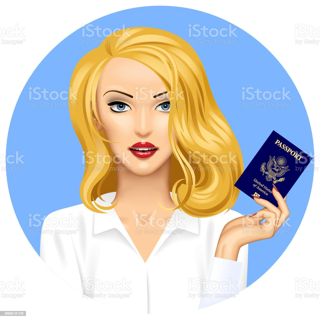 Blonde girl with an American Passport in hand vector art illustration