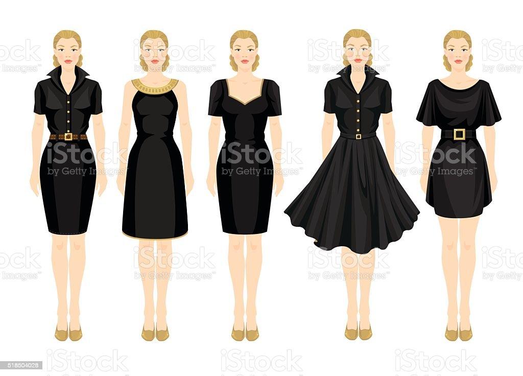 blonde girls in different models of little black dress vector art illustration