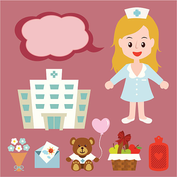 blonde hair nurse - get well soon stock illustrations, clip art, cartoons, & icons