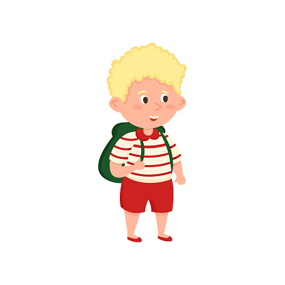Blonde hair school boy with red shorts and striped tshirt