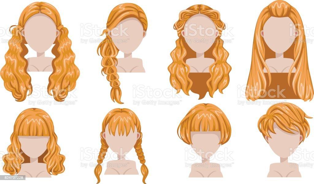 Blonde hair vector art illustration