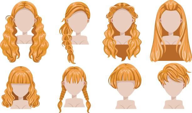 stockillustraties, clipart, cartoons en iconen met blonde haren - blond curly hair