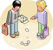 Bearded man is dropping some fresh eggs while another man carrying a shopping bag is laughing maliciously at him. Isometric illustration in vector cartoon style done with Adobe Illustrator 5.